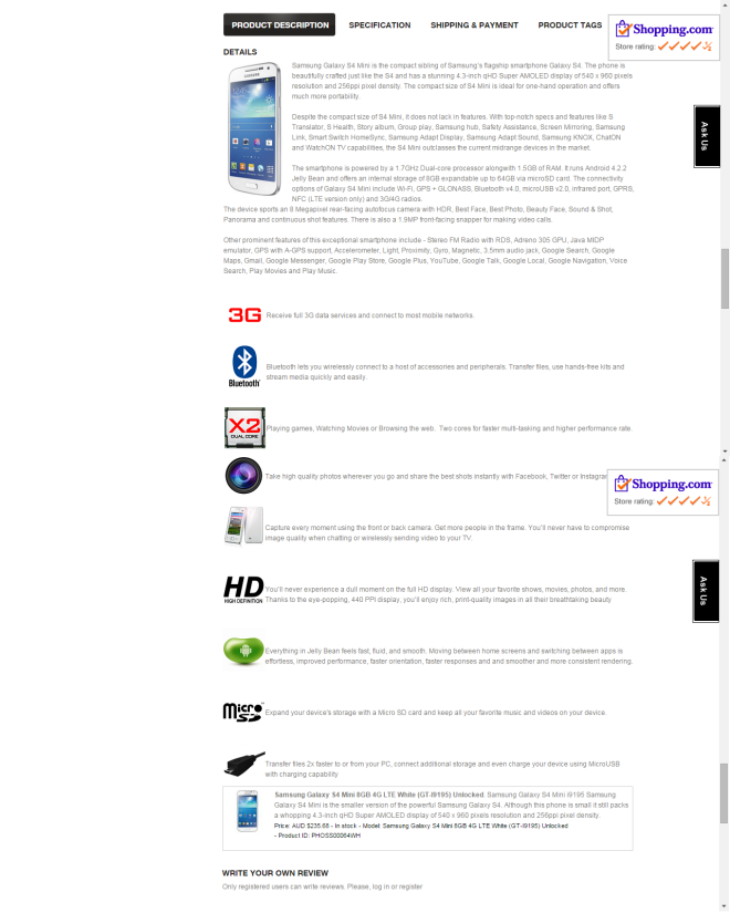 Samsung Galaxy S4 Mini product description